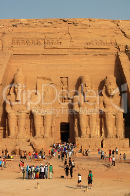 Landmark of the famous Ramses II at Abu Simbel in Egypt