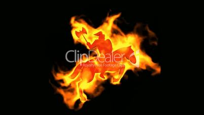 burning ancient soldier ride horse and  brandishing axe,fire islam holy war sign.