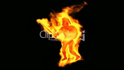 burning ancient soldier brandishing sword and shield.