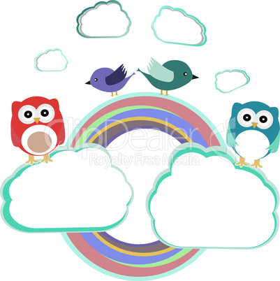 Background with couple of owls sitting and birds on cloud - vector