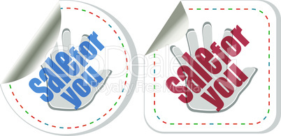 vector sale sticker set with hands isolated