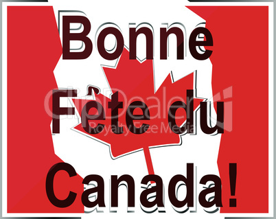 French Happy Canada Day card in vector
