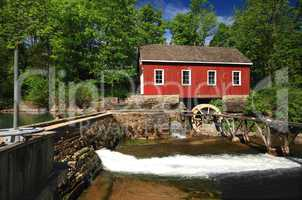 Historical building of Old water sawmill and small dam.