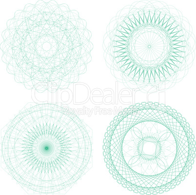 Set of four blue abstract guilloche rosette