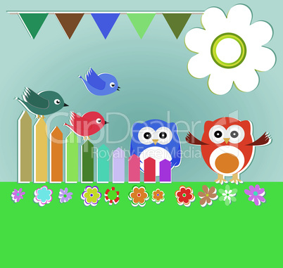 Vector background with couple of owls and birds