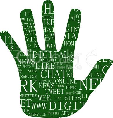 Illustration of hand, which is composed of text keywords on social media themes. Isolated on white.