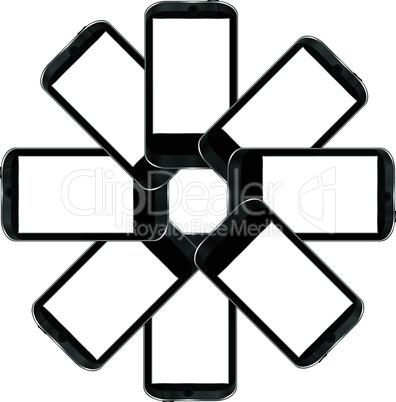 Black vector smart phones set on white background