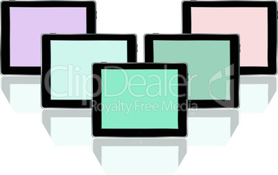 Set of digital tablets with colored screen isolated on white background