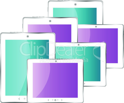 Black vector tablet pc set with multicolored screen. Object isolated of background