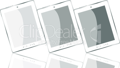 white tablet pc computer set with reflection