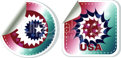 Vector made in USA stickers set isolated over a white background