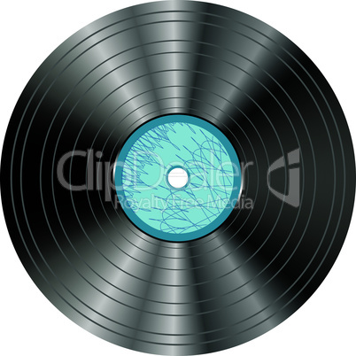 vinyl record with blue label isolated oт white