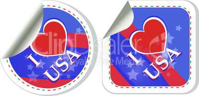 Heart logo I love USA stickers. vector label set