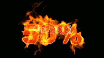 Sale Off 50%,burning fifty Percent Off,fire text.