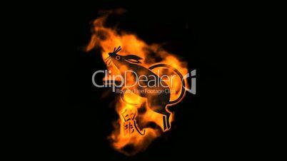 chinese zodiac of fire rat and handwriting chinese kanji,china tradition festival.