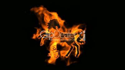 chinese zodiac of fire horse and handwriting chinese kanji,china tradition festival.