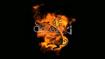 chinese zodiac of fire pig and handwriting chinese kanji,china tradition festival.