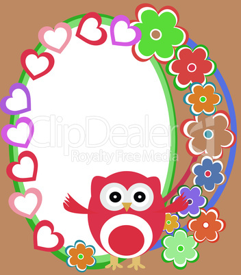 Vector background with flowers and cute owl