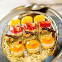 Desserts on silver platter food details