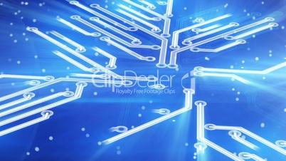 growing circuit board blue 3d