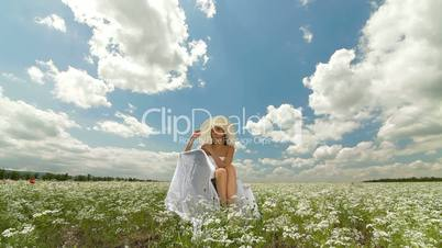Summer Landscape With Beautiful Woman in White Hat
