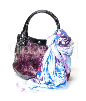 Vibrant Leather Ladies Handbag with Handkerchief