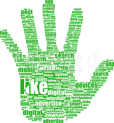 Hand symbol, which is composed of text keywords on social media themes. Isolated on white