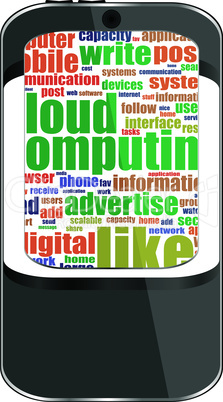 Smartphone with application icons and socila media words