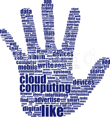 hand which is composed of text keywords on social media themes