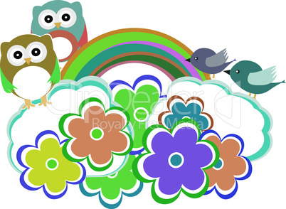 Background with owl, birds and cloud