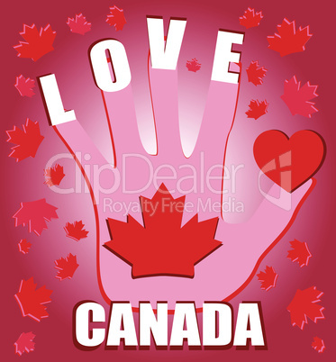 Happy Canada Day card with heart, leaf and hand