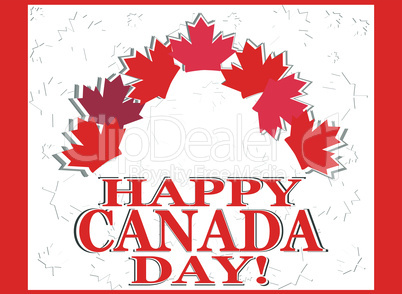 Happy Canada Day vector invitation card with leaves