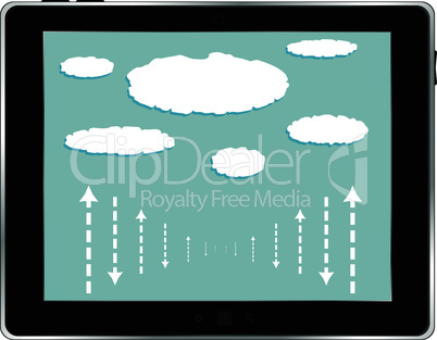 computer tablet with cloud isolated on white background
