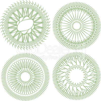 set of guilloche rosette for decor and ornament. Vector