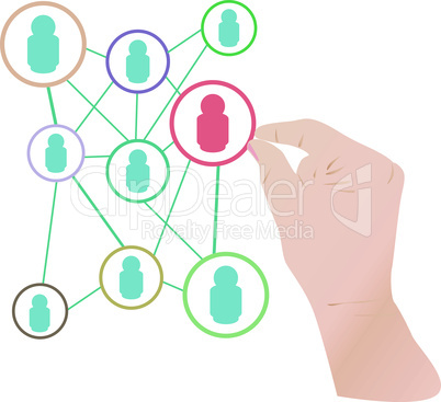 Woman hand hold the social network concept cloud. vector