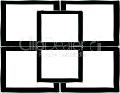 Vector tablets pc with empty white screen and black frame. Object isolated of background