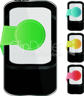 Modern mobile smart phone set. Sending and Receiving SMS Messages