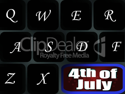 USA independence key on computer keyboard - vector