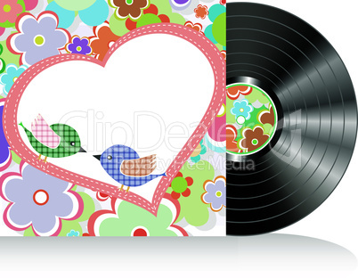 Vinyl and cover over a nature background, abstract vector art