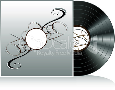 Black vinyl disc with abstract vector vintage cover