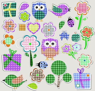 Scrapbook nature and animal set. Seamless vector background