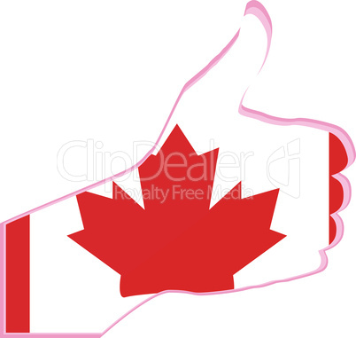 Hand with thumb up gesture in colored canada national flag - vector