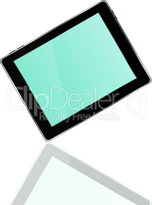 Vector tablet pc with blue screen and reflection