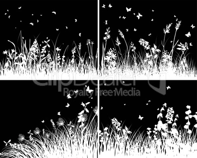 grass silhouette background set