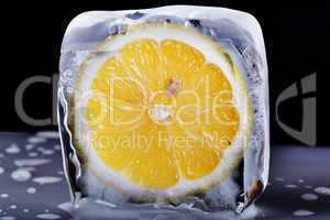 Lemon in ice block