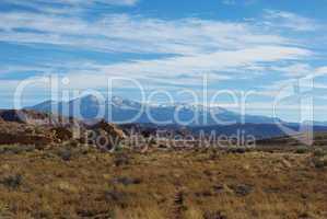 Rocks, sandstone hills and Henry Mountains, Utah