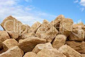 Heap of limestone blocks