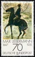 Postage stamp Germany 1978 Horseman on Shore, by Max Liebermann