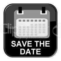 Glossy Button schwarz - Kalender: Save The Date