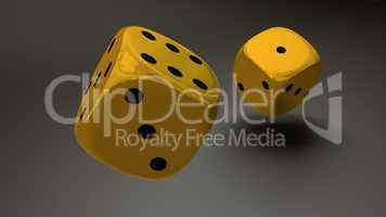 gold dice closeup